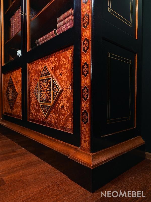 Шкаф книжный фасады с инкрустацией. фото крупно и цены. по ц.